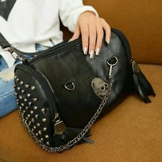 """Skull Leather  Shoulder Handbag/Crossbody Skull rivet tassel shoulder bag/handbag/crossbody/satchel/tote/purse New without tags size: length 11.22"""" width 9.5"""" Gorgeous Bags Shoulder Bags"""