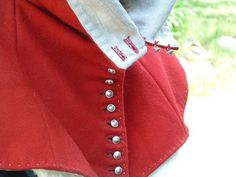 Medieval Sew n' Sew: Red Wool and White-Linen-Lined Medieval Hood w/hand-cast pewter buttons, in the style of 13th-14th centuries