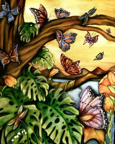 Butterflies and Tropical Leaves ~ Claudia Tremblay ~