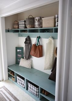 Closet Mudroom Bench with Hinge Up Boot Storage Compartment Closet Mudroom Bench with Hinge Up Boot Storage Compartment AMB DIY Budget Recipes S… – Mudroom Entryway Converted Closet, Entry Closet, Closet Mudroom, Mudroom Shelf, Closet Bench, Closet Storage, Front Hall Closet, Entryway Storage, Mudroom Benches