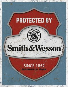 -Protected-By-Smith-and-Wesson-Vintage-Tin-Sign