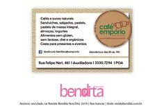 DICA BENDITA DE GASTRONOMIA A Café Empório, além de saborear um bom café com petiscos - incluindo integrais e dietéticos -, você pode encomendar cestas para presente neste Natal e Réveillon. Confira mais em www.cafeemporio.com.br