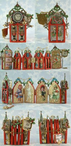 Toy Shoppe Domino Book - The front and the back of the Toy Shoppe are dominoes with Masonite Gothic arch windows attached. In the middle of the book are 4 Gothic arch windows that are hinged together and hinged to the dominoes. Domino Crafts, Domino Art, Altered Tins, Altered Art, Altered Books, Christmas Art, Christmas Projects, Christmas Ornaments, Domino Jewelry