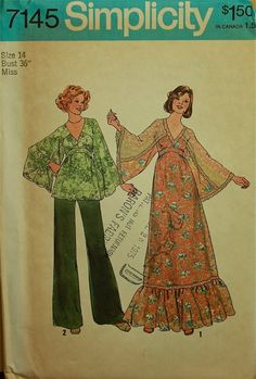 1970s+maxi+dress+with+flare+jacket+simplicity | 1970s Maxi Dress Top and WideLeg Pants by patterntreasury on Etsy, $15 ...