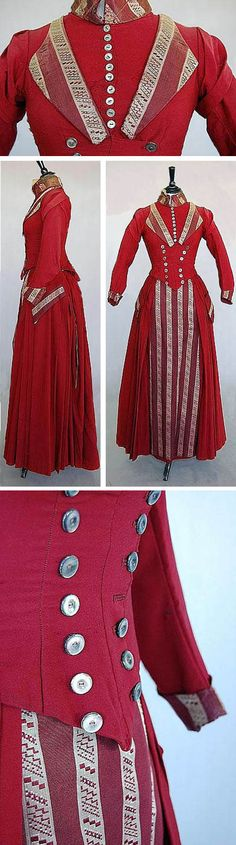 Red wool gown, ca. 1885-89, trimmed with wine and gray jacquard silk. Kerry Taylor Auctions/Invaluable