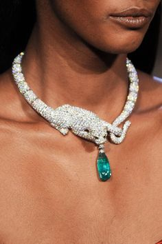 Cartier emerald and diamond panther necklace