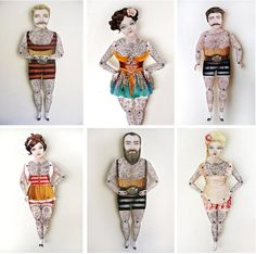 I recently came upon these fun Victorian Tattoo paper puppets. I love that each one comes with its own name and story and think any one would made such a playful addition to any space. I really ge… Paper Puppets, Paper Toys, Arte Pop Up, Victorian Tattoo, Paper Art, Paper Crafts, Toy Theatre, Tattoo Paper, Arte Sketchbook