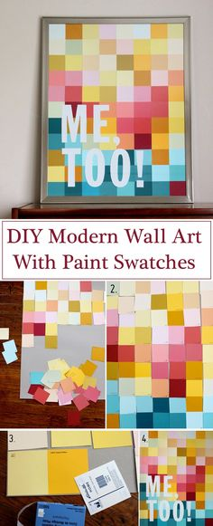 DIY Modern Wall Art With Paint Swatches // Looking to decorate and fill the blank wall without painting it? Use paint chips or bright construction paper to create this pixelated wall art. You can add the quote you love.