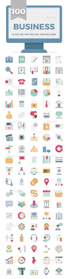 100 Business Vector Color Icons Pack