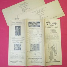 1936 HAZELLE'S PRODUCT BROCHURE AND PLAYS ADDED TO PUPPET PARADISE THIS MONTH. These are the oldest in my collection.