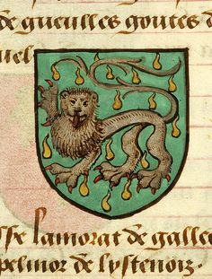 Escutcheon decorated with heraldry of Hervi de Rivel (vert, a semy of sixteen gouttes or, a lion passant argent armed and langued gules)   Noms, armes et blasons des chevaliers de la Table Ronde   France   ca. 1500   The Morgan Library & Museum