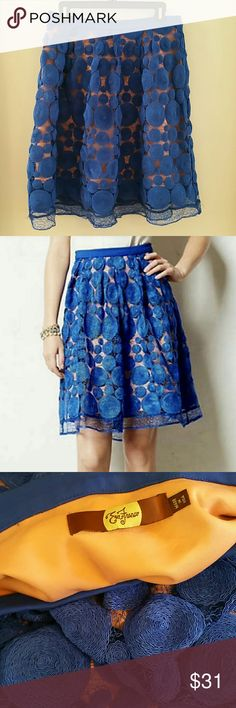 """Eva Franco blue circle skirt anthropologie 10 This skirt is GORGEOUS.  My girlfriend lost weight and can't wear it anymore. Knee length, blue and peach or coral detailing for a lacy look. It's Eva Franco from Anthropogie. Measurements are 15.5"""" across the waist, 23"""" long. Thanks for looking! Anthropologie Skirts A-Line or Full"""