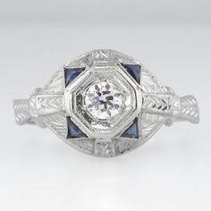 True Intricate Art Deco Old European Cut Diamond and Sapphire Engagement Ring 18k SOLD: 1/10/15 | Antique and Estate Jewelry | Jewelry Finds