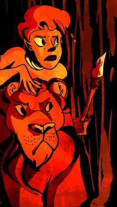 Exotic tribe girl and her tiger. Orange colors, my art.