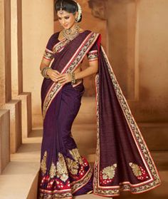 Buy Purple Art Silk Saree With Blouse 71417 with blouse online at lowest price from vast collection of sarees at Indianclothstore.com.