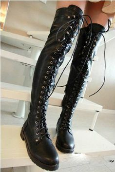 They never have these in my size! :(    Womens Over the Knee Boots lace-up Knight Boots Motorcycle Boots Flat Heel Boots #Other #FashionKneeHigh