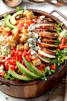 Buffalo Chicken Salad with Blue Cheese Cilantro Ranch | http://www.carlsbadcravings.com/buffalo-chicken-salad-with-blue-cheese-cilantro-ranch/