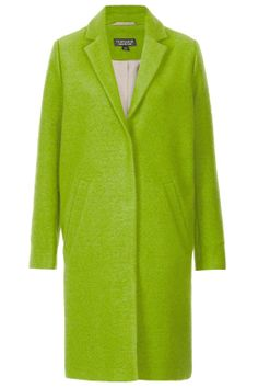 Topshop Lime Wool Blend Boyfriend Coat