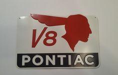 Pontiac V8 Indian Tin Sign 14 X 9 Garage Car Mancave Advertising Decor #TINSIGNMADEINUSA