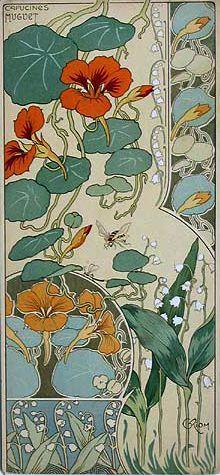 Etude des Fleurs, Capucines et muguet - C. Riom 1890