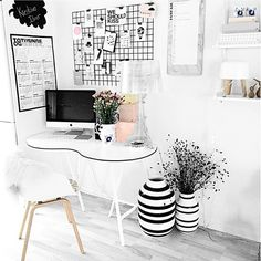 #officespace #smallspace #homedecor  Nice use of patterns and only one muted accent color to make a great impact.  The design of the desk is fluid in this design.