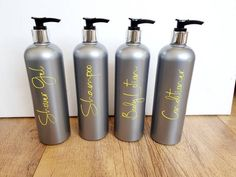 Personalised Gift Shop, Shampoo, Bottles, Conditioner, Pumps, In This Moment, Etsy Shop, Bathroom, Grey