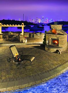 Add an outdoor fireplace to your backyard this year with Cambridge Pavingstones with Armortec.