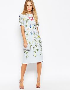 Image 4 of ASOS Bird And Floral Embroidered Shift Dress