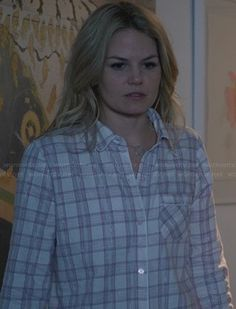 Emma's plaid pajamas on Once Upon a Time.  Outfit Details: https://wornontv.net/24347/ #OUAT