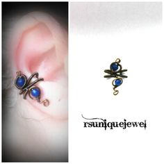 Wire Wrapped Blue Ear Cuff Gothic Earring No by rsuniquejewel