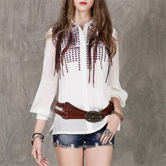 2017 Women's Autumn Ethnic Vintage Embroidery White Silk Blouse Shirt Vintage Long Sleeve Comfy All-match Loose Shirt #B4