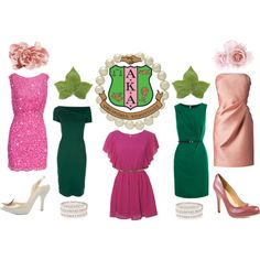 From Polyvore.com. Pretty in Pink & Green (Forever AKA), created by oleanderdivine