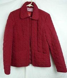 Esprit Women's Red Quilted Zip Front Fully Lined Jacket Size Small | eBay