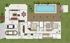 Projeto interessante! Model House Plan, Dream House Plans, House Floor Plans, Villa Plan, Home Design Floor Plans, Small Backyard Pools, Bungalow, Beautiful Villas, Home Landscaping