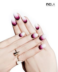 Subtle and vampy look with these dark plum to white gradient nail wraps