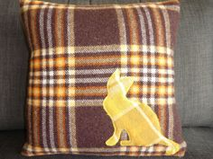Wool Cushion Cat upcycled wool blanket with by InTheBowerbirdsNest, $45.00