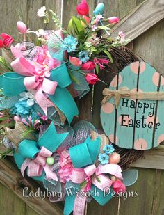 Grapevine Easter Wreath, Spring Wreath, Spring Grapevine Wreath, by LadybugWreathDesigns on Etsy