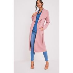Paisie Rose Scuba Waterfall Coat ($37) ❤ liked on Polyvore featuring outerwear, coats, pink, longline coat, long coat, rose coat, waterfall coat and pink coat