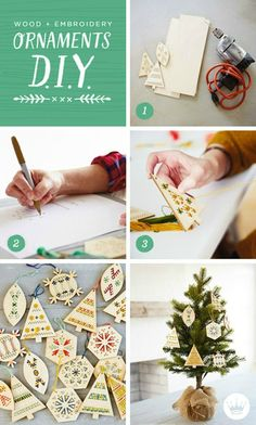 DIY handmade Christmas decorations in six simple steps: Make these on-trend wood and embroidery ornaments for your own Christmas tree or as an easy gift idea for a friend who appreciates presents from your (maker) heart.