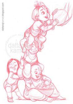 Dattaraj Kamat - Masters of Anatomy Lord Krishna Sketch, Krishna Drawing, Krishna Painting, Krishna Art, Krishna Images, Cartoon Sketches, Art Drawings Sketches, Cartoon Art, Little Krishna