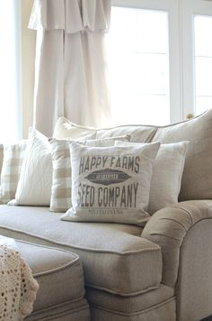 For the old living room space! Farmhouse Decor and Pillow--Happy Farm Seed Company Pillow French Country Living Room, French Country Farmhouse, Vintage Farmhouse Decor, Farmhouse Style Decorating, Farmhouse Furniture, Farmhouse Rugs, Ikea Hacks, Fixer Upper, Shabby Chic Romantique