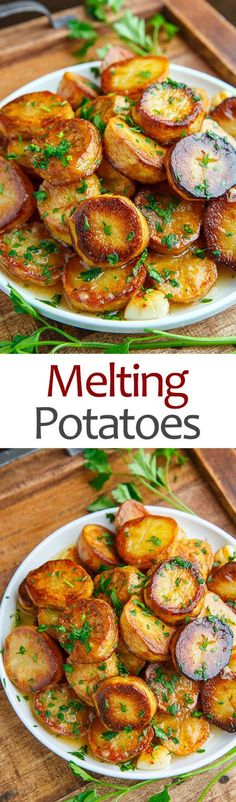 Melting Potatoes Prep Time: 10 minutes Cook Time: 35 minutes Total Time: 45 minutes Servings: 4 Magical roasted potatoes that are crispy on the outside and melt in your mouth on the inside in a tasty lemon an garlic sauce! ingredients 1 1/2 pounds yellow fleshed potatoes (such as Yukon gold), peeled and sliced 1 inch thick 4 tablespoons butter, melted 1 teaspoon thyme, chopped salt and pepper to taste 1 cup chicken broth or vegetable broth 1 tablespoon lemon juice (optional) 2 garlic