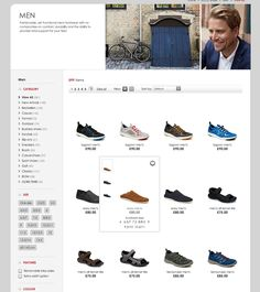 Ecco shoes list page - spacious, lots of white space, grey draws eye in to products
