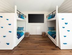 Bunk Room Bunk Beds with Climb Walls instead of ladders. Bunk Room Bunk Beds with Climb Walls. #BunkRoom #BunkBeds…