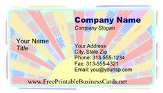 A gorgeous pastel sunburst forms the entire background of this printable business card. Free to download and print
