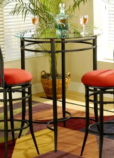 Hillsdale - Mix-N-Match Bistro Table Set w 2 Cierra Swivel Bar Stools & small round pub table with storage 2 chairs | Round Kitchen Table ...