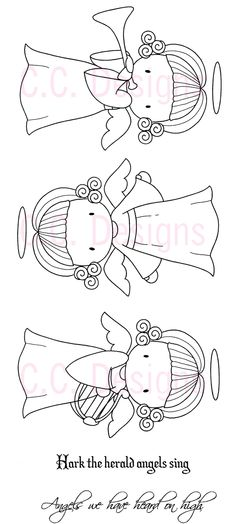 SU1010 C.C. Designs Unmounted Rubber Stamps Sugarplums Angel Emma $13.60 Christmas Doodles, Christmas Coloring Pages, Christmas Angels, Christmas Crafts, Embroidery Stitches, Embroidery Patterns, Hand Embroidery, Bible Coloring Pages, Angel Art