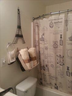 Paris Themed Bathroom- (shower curtains), and eiffel tower decor