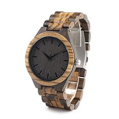 BOBO BIRD D30 Mens Bamboo Wooden Watch With Full Wood Links in Bamboo Box