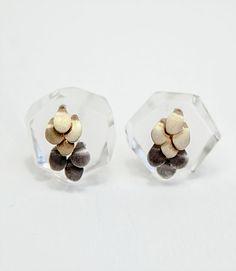 Mini Murmur Studs by Emmeline Hasting, in perspex, acrylic, silver and 18K gold #earrings  #emmelinehasting  #silverjewellery #contemporaryjewellery #perspex